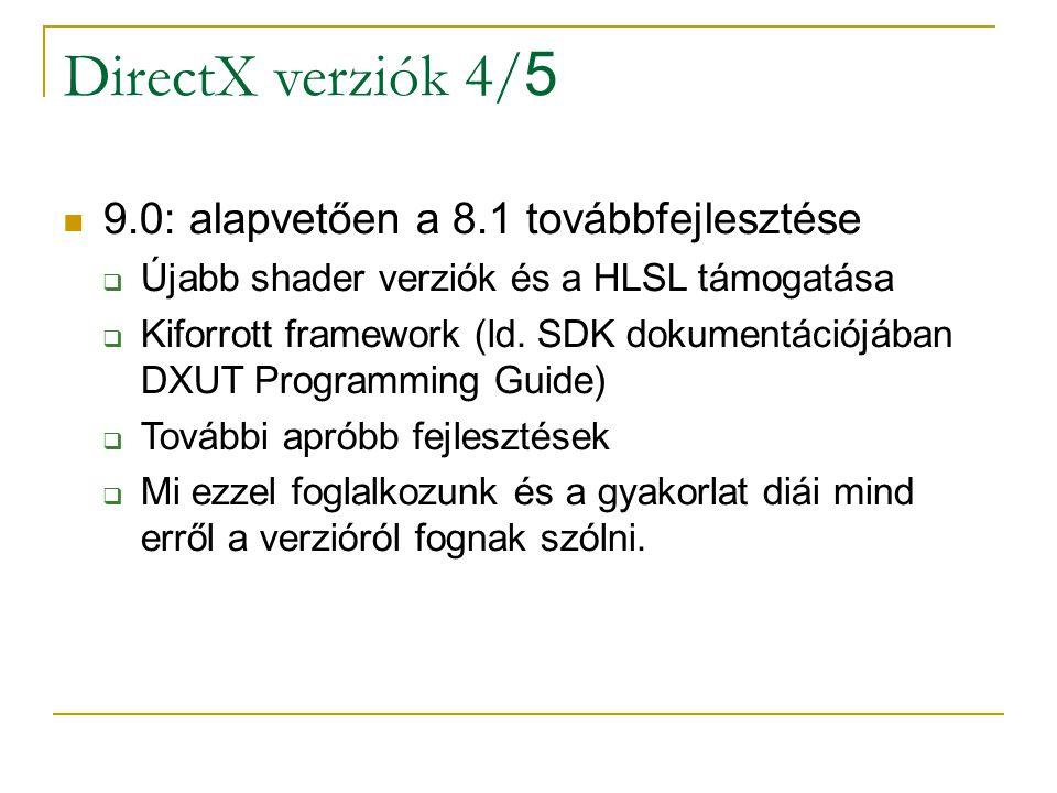 DirectX verziók 4/ 5 9.0: alapvetően a 8.1 továbbfejlesztése  Újabb shader verziók és a HLSL támogatása  Kiforrott framework (ld.
