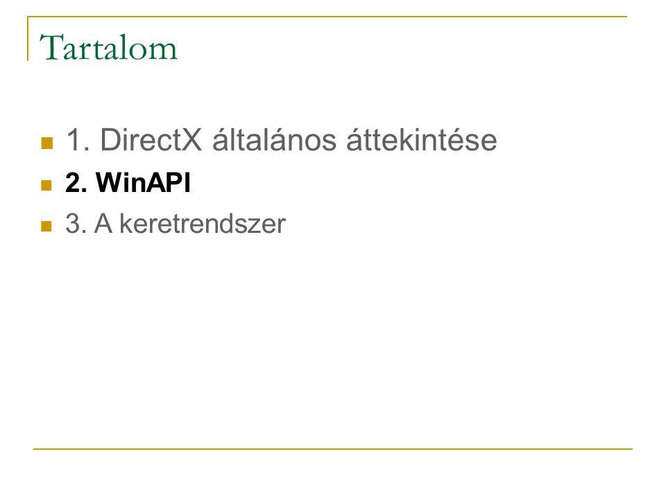 Tartalom 1. DirectX általános áttekintése 2. WinAPI 3. A keretrendszer