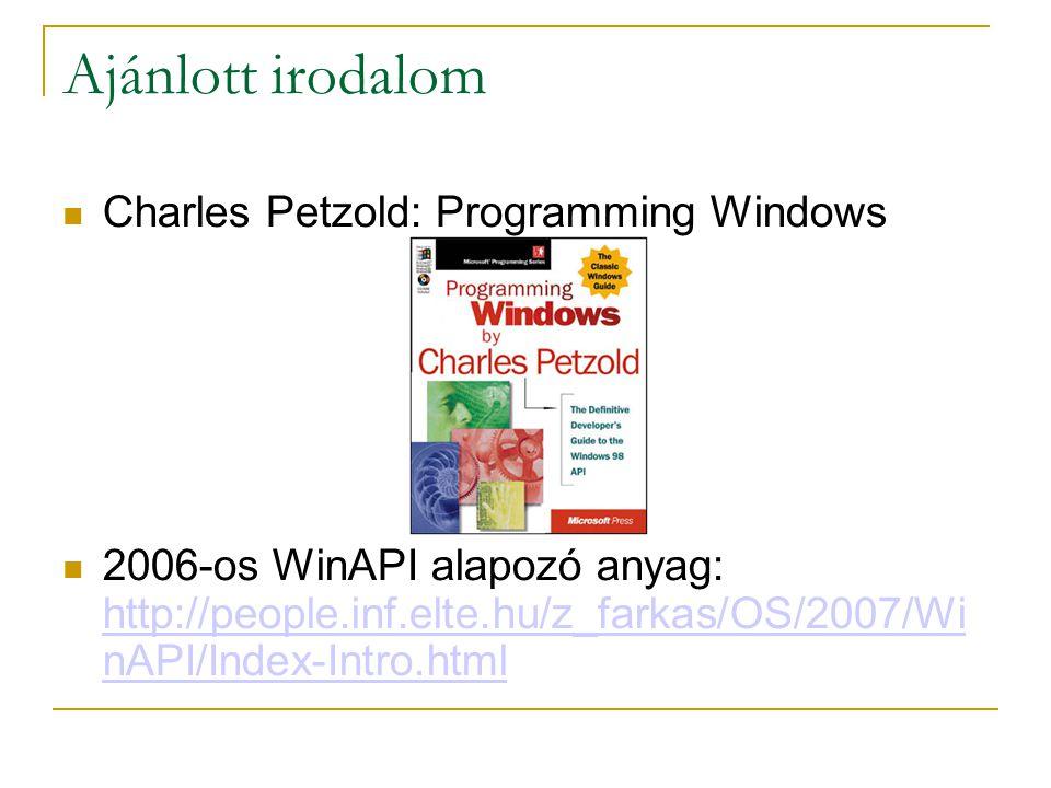 Ajánlott irodalom Charles Petzold: Programming Windows 2006-os WinAPI alapozó anyag: http://people.inf.elte.hu/z_farkas/OS/2007/Wi nAPI/Index-Intro.html http://people.inf.elte.hu/z_farkas/OS/2007/Wi nAPI/Index-Intro.html