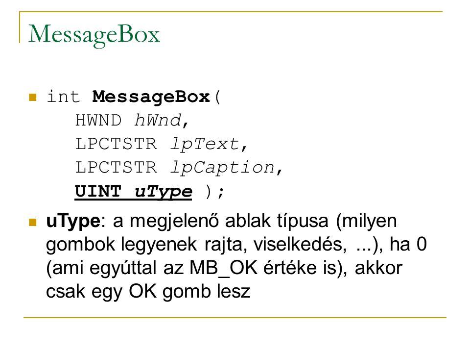 MessageBox int MessageBox( HWND hWnd, LPCTSTR lpText, LPCTSTR lpCaption, UINT uType ); uType: a megjelenő ablak típusa (milyen gombok legyenek rajta, viselkedés,...), ha 0 (ami egyúttal az MB_OK értéke is), akkor csak egy OK gomb lesz