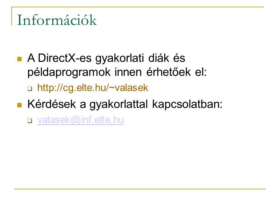Információk A DirectX-es gyakorlati diák és példaprogramok innen érhetőek el:  http://cg.elte.hu/~valasek Kérdések a gyakorlattal kapcsolatban:  valasek@inf.elte.hu valasek@inf.elte.hu