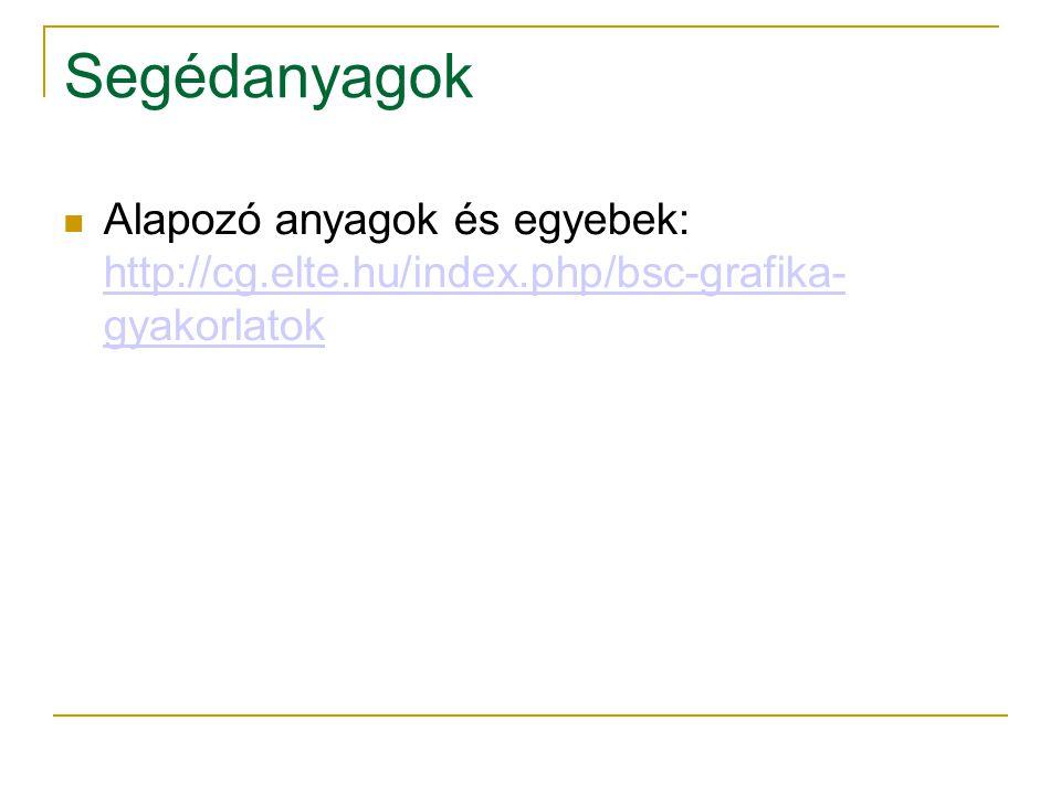 Segédanyagok Alapozó anyagok és egyebek: http://cg.elte.hu/index.php/bsc-grafika- gyakorlatok http://cg.elte.hu/index.php/bsc-grafika- gyakorlatok