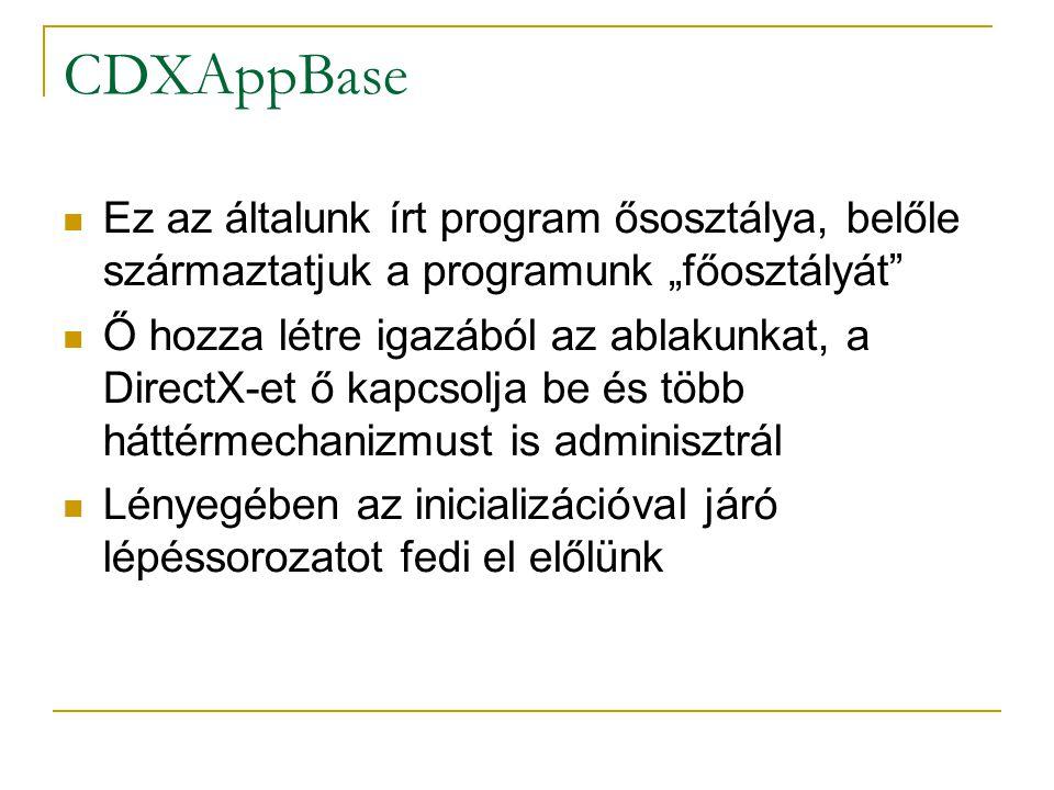 """CDXAppBase Ez az általunk írt program ősosztálya, belőle származtatjuk a programunk """"főosztályát Ő hozza létre igazából az ablakunkat, a DirectX-et ő kapcsolja be és több háttérmechanizmust is adminisztrál Lényegében az inicializációval járó lépéssorozatot fedi el előlünk"""