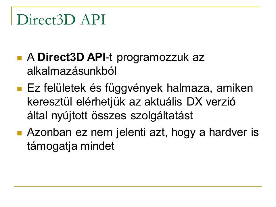 Direct3D API A Direct3D API-t programozzuk az alkalmazásunkból Ez felületek és függvények halmaza, amiken keresztül elérhetjük az aktuális DX verzió által nyújtott összes szolgáltatást Azonban ez nem jelenti azt, hogy a hardver is támogatja mindet