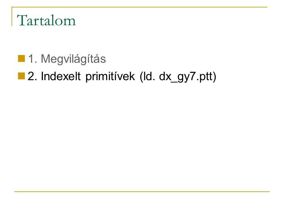 Tartalom 1. Megvilágítás 2. Indexelt primitívek (ld. dx_gy7.ptt)