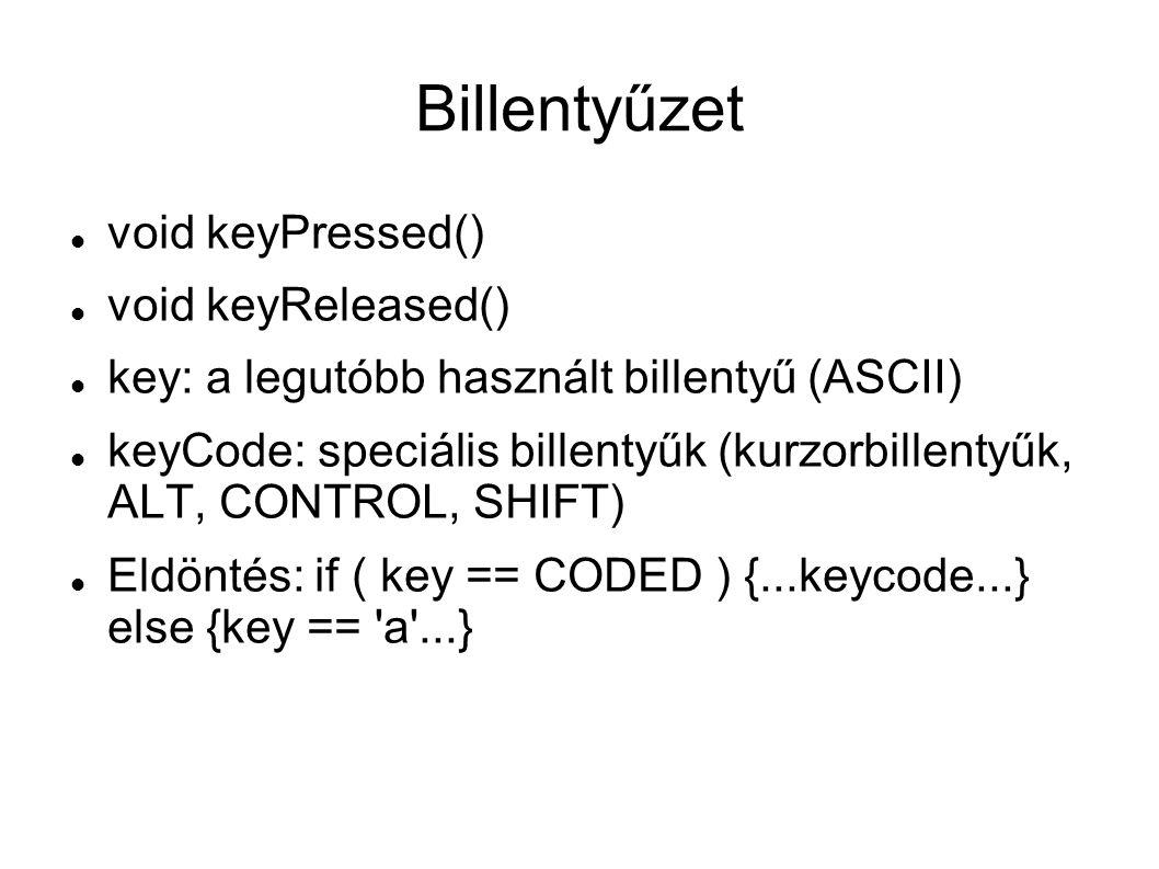 Billentyűzet void keyPressed() void keyReleased() key: a legutóbb használt billentyű (ASCII) keyCode: speciális billentyűk (kurzorbillentyűk, ALT, CONTROL, SHIFT) Eldöntés: if ( key == CODED ) {...keycode...} else {key == a ...}