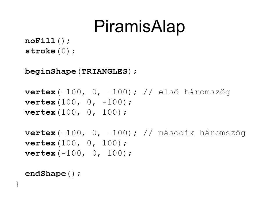 PiramisAlap noFill(); stroke(0); beginShape(TRIANGLES); vertex(-100, 0, -100); // első háromszög vertex(100, 0, -100); vertex(100, 0, 100); vertex(-100, 0, -100); // második háromszög vertex(100, 0, 100); vertex(-100, 0, 100); endShape(); }