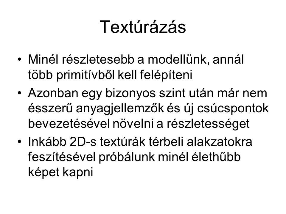 Textúrázás Minél részletesebb a modellünk, annál több primitívből kell felépíteni Azonban egy bizonyos szint után már nem ésszerű anyagjellemzők és új csúcspontok bevezetésével növelni a részletességet Inkább 2D-s textúrák térbeli alakzatokra feszítésével próbálunk minél élethűbb képet kapni
