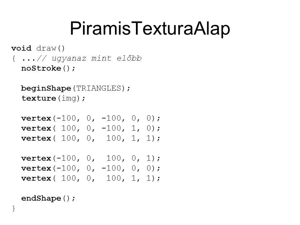 PiramisTexturaAlap void draw() {...// ugyanaz mint előbb noStroke(); beginShape(TRIANGLES); texture(img); vertex(-100, 0, -100, 0, 0); vertex( 100, 0, -100, 1, 0); vertex( 100, 0, 100, 1, 1); vertex(-100, 0, 100, 0, 1); vertex(-100, 0, -100, 0, 0); vertex( 100, 0, 100, 1, 1); endShape(); }