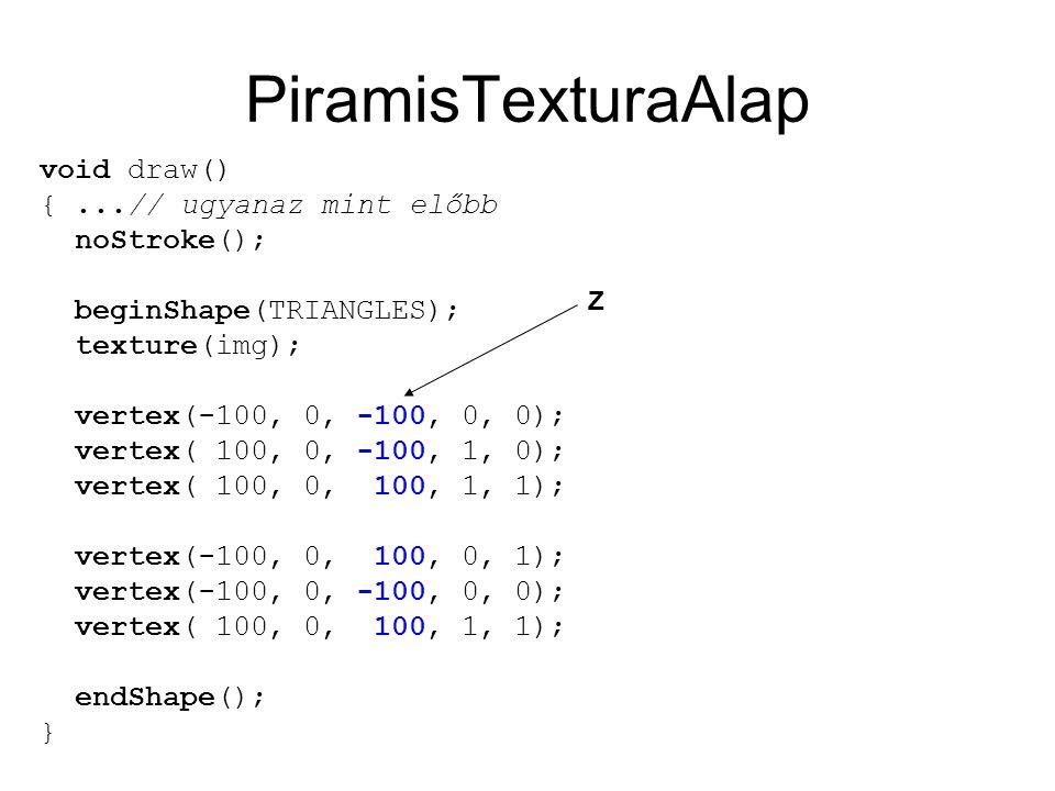 PiramisTexturaAlap void draw() {...// ugyanaz mint előbb noStroke(); beginShape(TRIANGLES); texture(img); vertex(-100, 0, -100, 0, 0); vertex( 100, 0, -100, 1, 0); vertex( 100, 0, 100, 1, 1); vertex(-100, 0, 100, 0, 1); vertex(-100, 0, -100, 0, 0); vertex( 100, 0, 100, 1, 1); endShape(); } Z