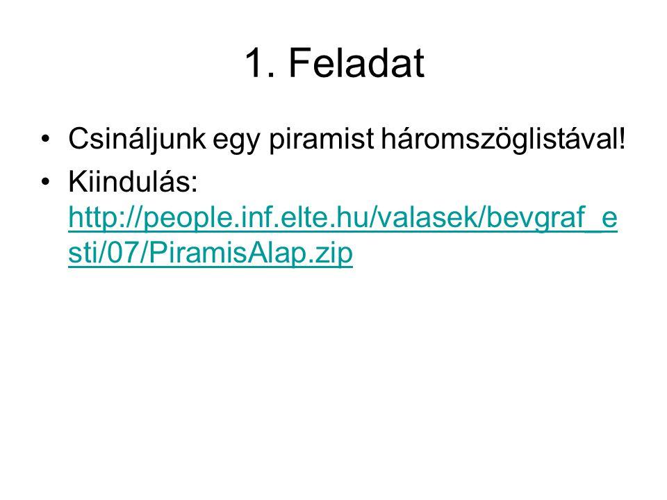 1. Feladat Csináljunk egy piramist háromszöglistával! Kiindulás: http://people.inf.elte.hu/valasek/bevgraf_e sti/07/PiramisAlap.zip http://people.inf.