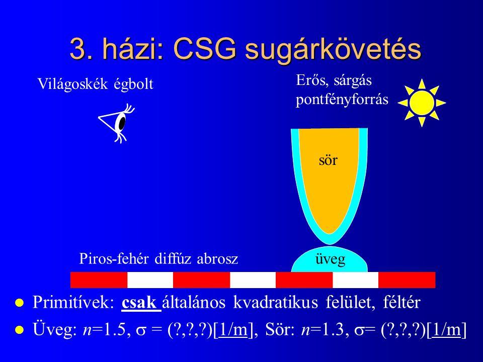 3. házi: CSG sugárkövetés l Primitívek: csak általános kvadratikus felület, féltér l Üveg: n=1.5,  = (?,?,?)[1/m], Sör: n=1.3,  = (?,?,?)[1/m] Piros