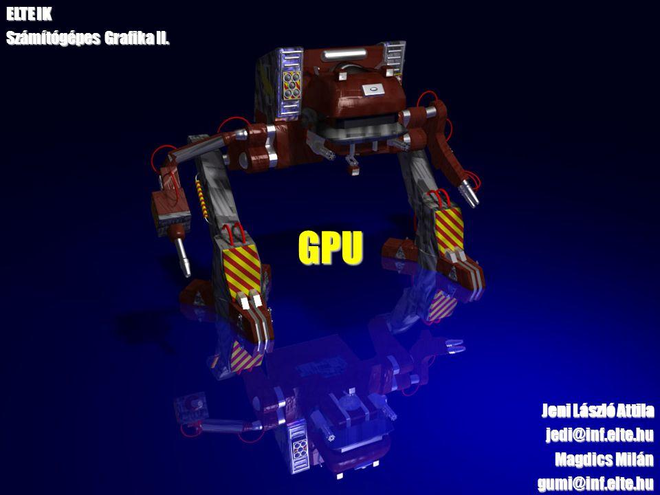 2 Tartalom A grafikus hardver fejlődése GPU generációk Hardveres grafikus szerelőszalag felépítése Csúcspont és képpont árnyaló egységek működése