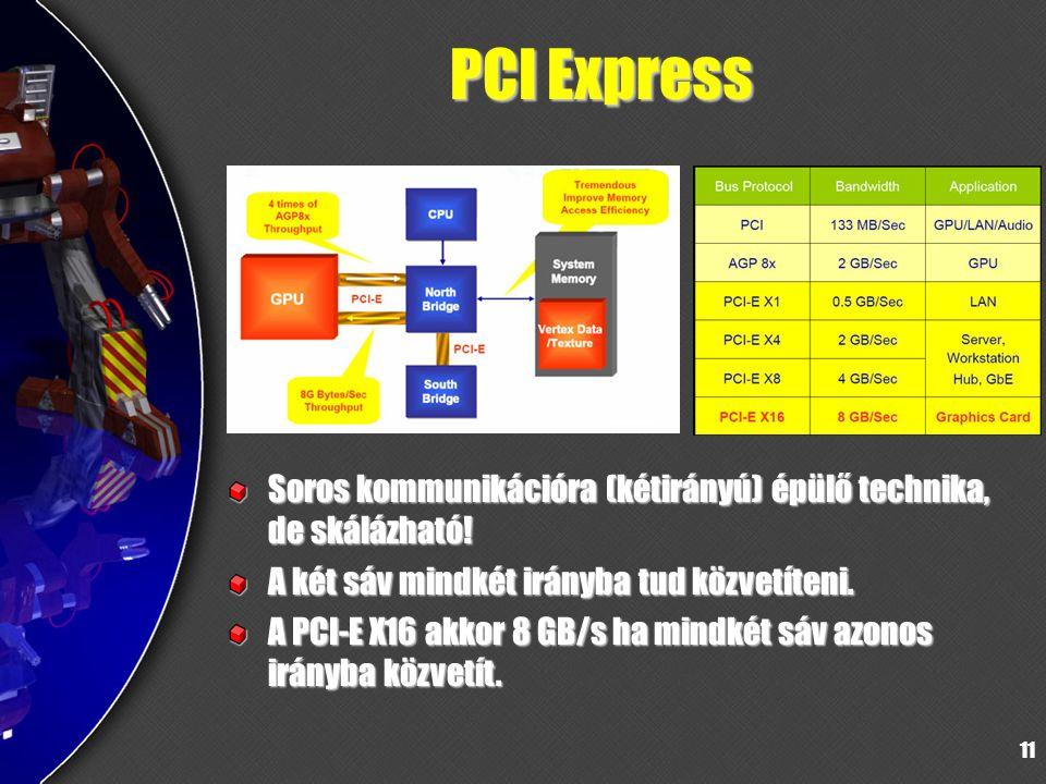 11 PCI Express Soros kommunikációra (kétirányú) épülő technika, de skálázható! A két sáv mindkét irányba tud közvetíteni. A PCI-E X16 akkor 8 GB/s ha