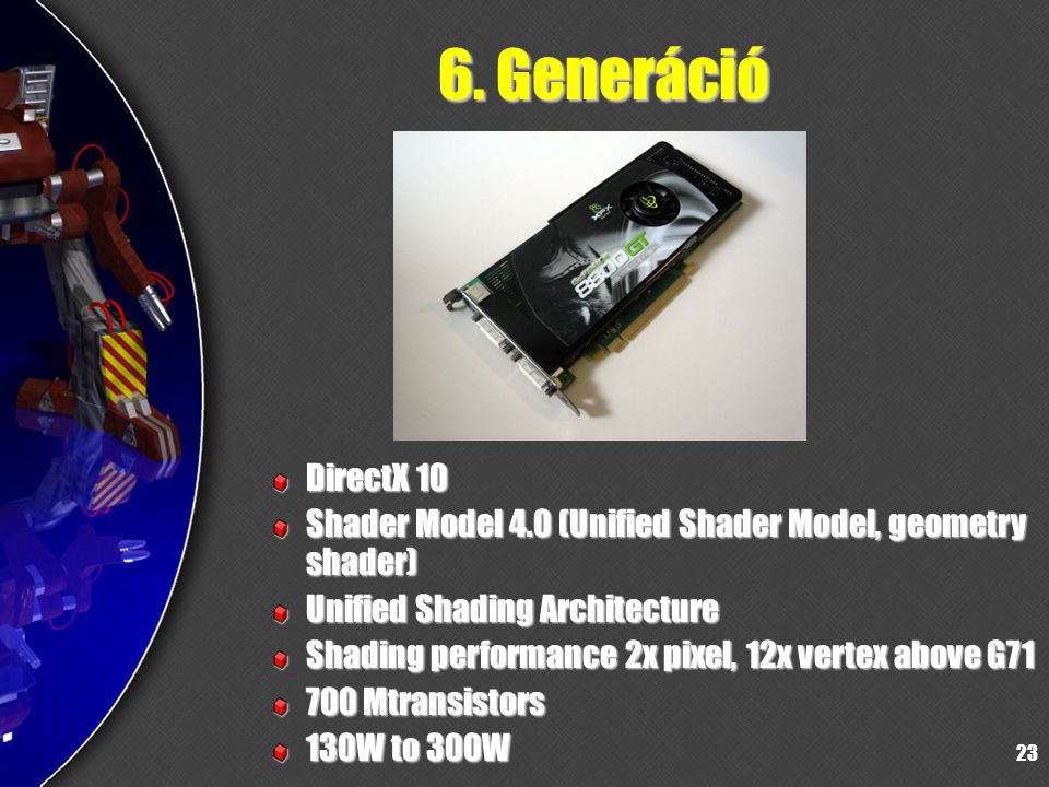 23 6. Generáció DirectX 10 Shader Model 4.0 (Unified Shader Model, geometry shader) Unified Shading Architecture Shading performance 2x pixel, 12x ver