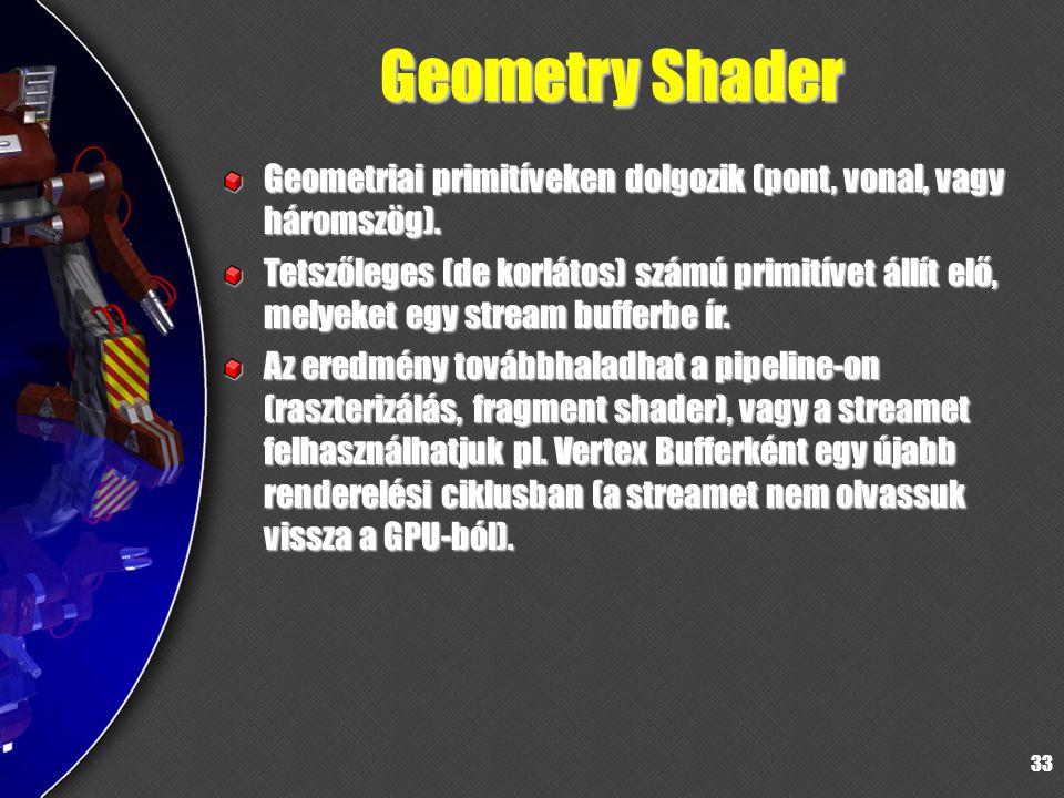 33 Geometry Shader Geometriai primitíveken dolgozik (pont, vonal, vagy háromszög). Tetszőleges (de korlátos) számú primitívet állít elő, melyeket egy