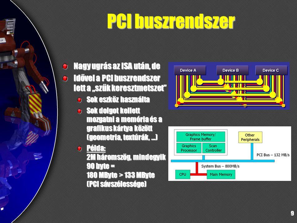 """9 PCI buszrendszer Nagy ugrás az ISA után, de Idővel a PCI buszrendszer lett a """"szűk keresztmetszet"""" Sok eszköz használta Sok dolgot kellett mozgatni"""