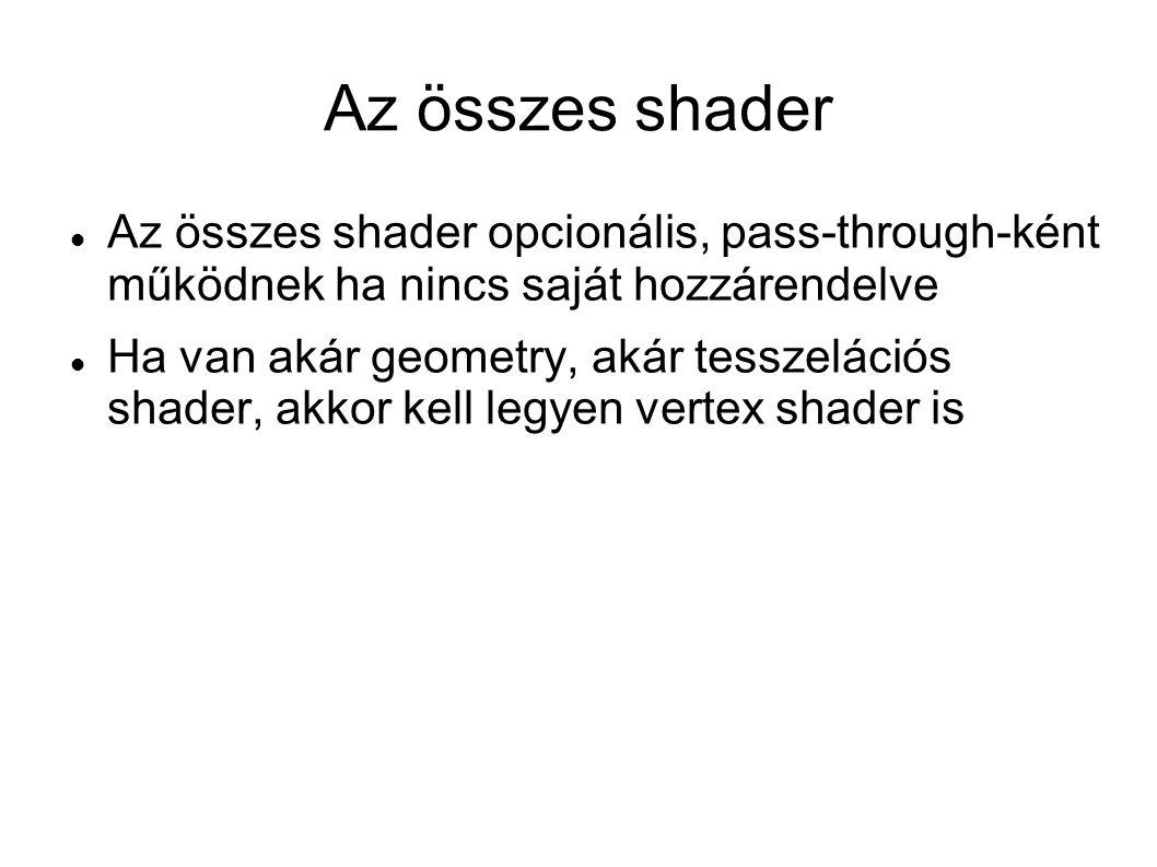 Az összes shader opcionális, pass-through-ként működnek ha nincs saját hozzárendelve Ha van akár geometry, akár tesszelációs shader, akkor kell legyen