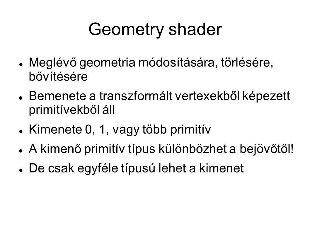 Geometry shader Meglévő geometria módosítására, törlésére, bővítésére Bemenete a transzformált vertexekből képezett primitívekből áll Kimenete 0, 1, v