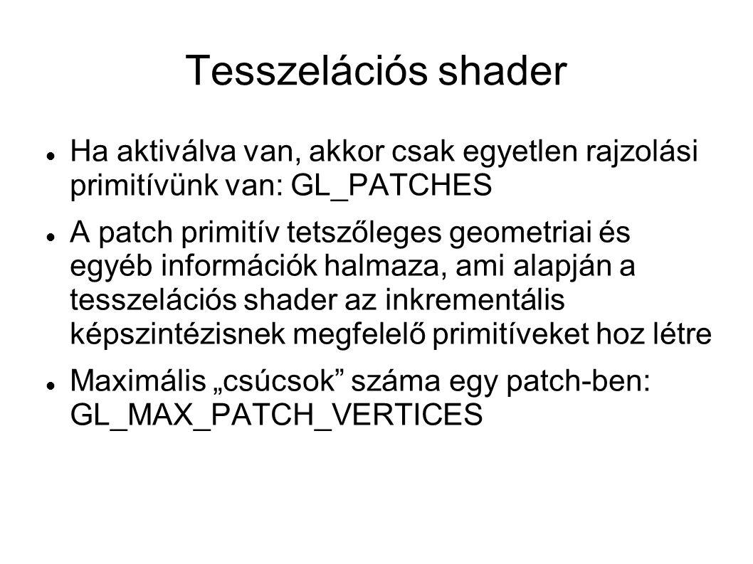 Tesszelációs shader Ha aktiválva van, akkor csak egyetlen rajzolási primitívünk van: GL_PATCHES A patch primitív tetszőleges geometriai és egyéb infor