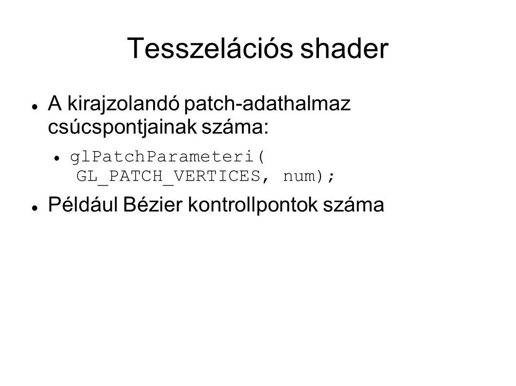 Tesszelációs shader A kirajzolandó patch-adathalmaz csúcspontjainak száma: glPatchParameteri( GL_PATCH_VERTICES, num); Például Bézier kontrollpontok s