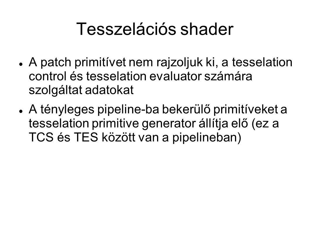 Tesszelációs shader A patch primitívet nem rajzoljuk ki, a tesselation control és tesselation evaluator számára szolgáltat adatokat A tényleges pipeli