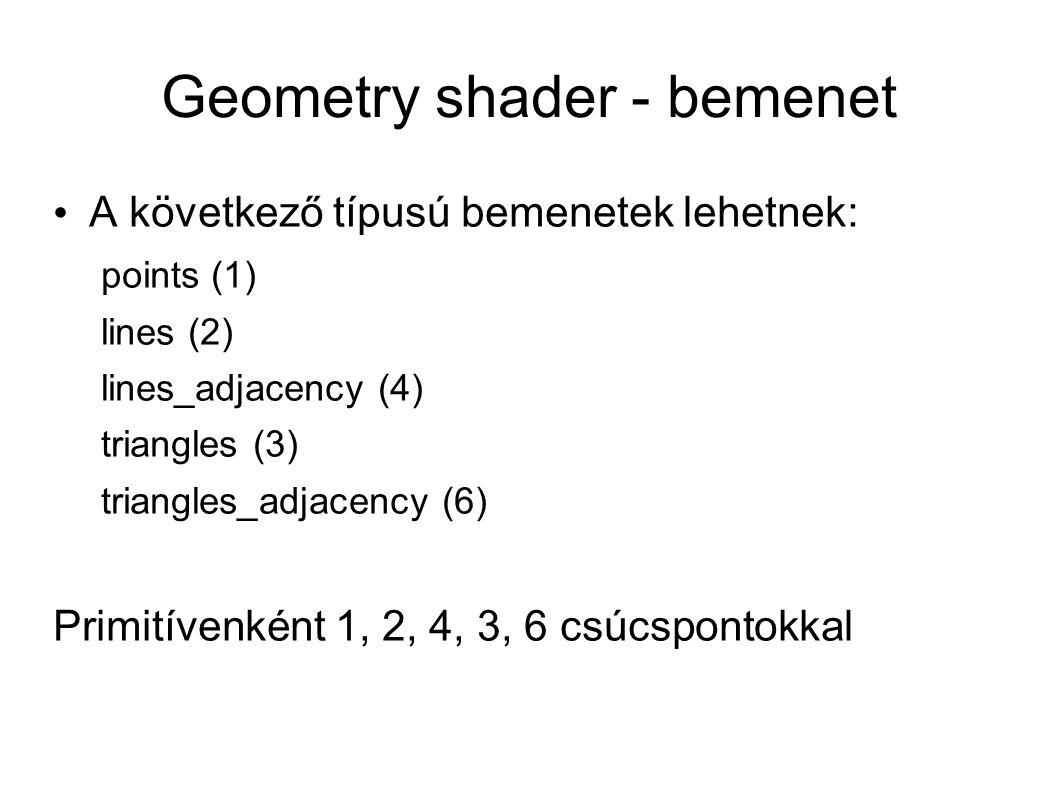 Geometry shader - bemenet A következő típusú bemenetek lehetnek: points (1) lines (2) lines_adjacency (4) triangles (3) triangles_adjacency (6) Primit
