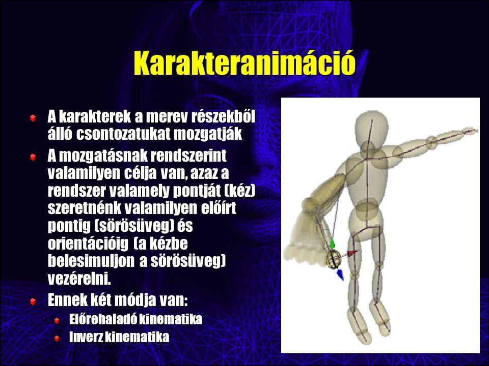 Karakteranimáció A karakterek a merev részekből álló csontozatukat mozgatják A mozgatásnak rendszerint valamilyen célja van, azaz a rendszer valamely pontját (kéz) szeretnénk valamilyen előírt pontig (sörösüveg) és orientációig (a kézbe belesimuljon a sörösüveg) vezérelni.