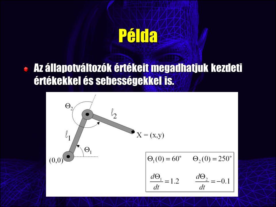 Példa Az állapotváltozók értékeit megadhatjuk kezdeti értékekkel és sebességekkel is.