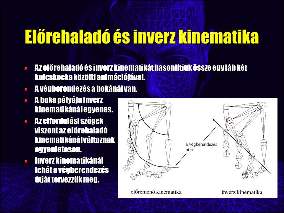 Előrehaladó és inverz kinematika Az előrehaladó és inverz kinematikát hasonlítjuk össze egy láb két kulcskocka közötti animációjával.