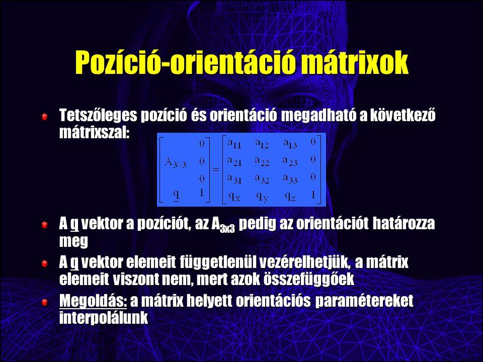 Pozíció-orientáció mátrixok Tetszőleges pozíció és orientáció megadható a következő mátrixszal: A q vektor a pozíciót, az A 3x3 pedig az orientációt határozza meg A q vektor elemeit függetlenül vezérelhetjük, a mátrix elemeit viszont nem, mert azok összefüggőek Megoldás: a mátrix helyett orientációs paramétereket interpolálunk