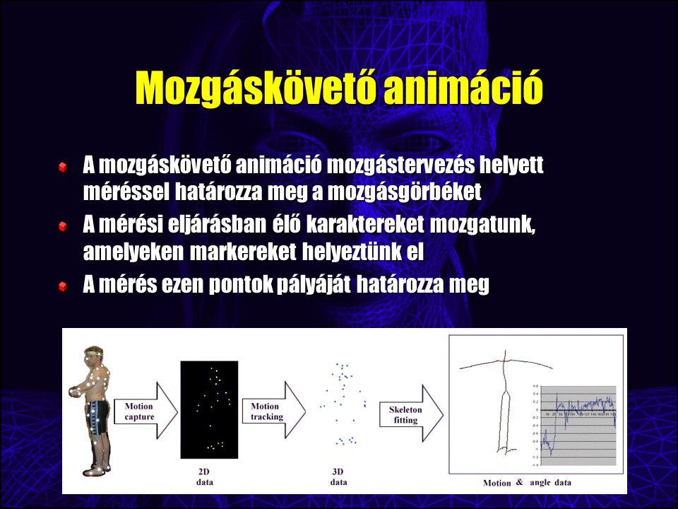 Mozgáskövető animáció A mozgáskövető animáció mozgástervezés helyett méréssel határozza meg a mozgásgörbéket A mérési eljárásban élő karaktereket mozgatunk, amelyeken markereket helyeztünk el A mérés ezen pontok pályáját határozza meg