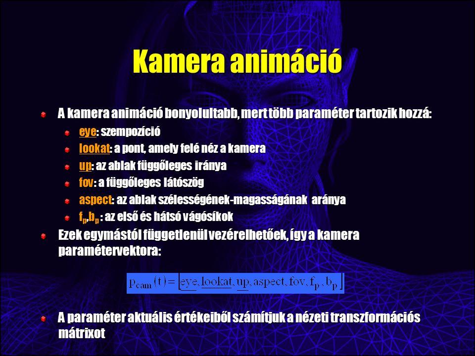 Kamera animáció A kamera animáció bonyolultabb, mert több paraméter tartozik hozzá: eye: szempozíció lookat: a pont, amely felé néz a kamera up: az ablak függőleges iránya fov: a függőleges látószög aspect: az ablak szélességének-magasságának aránya f p,b p : az első és hátsó vágósíkok Ezek egymástól függetlenül vezérelhetőek, így a kamera paramétervektora: A paraméter aktuális értékeiből számítjuk a nézeti transzformációs mátrixot