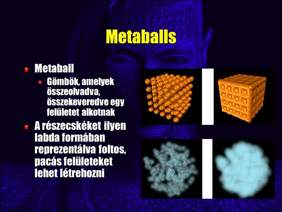 Metaballs Metaball Gömbök, amelyek összeolvadva, összekeveredve egy felületet alkotnak A részecskéket ilyen labda formában reprezentálva foltos, pacás felületeket lehet létrehozni