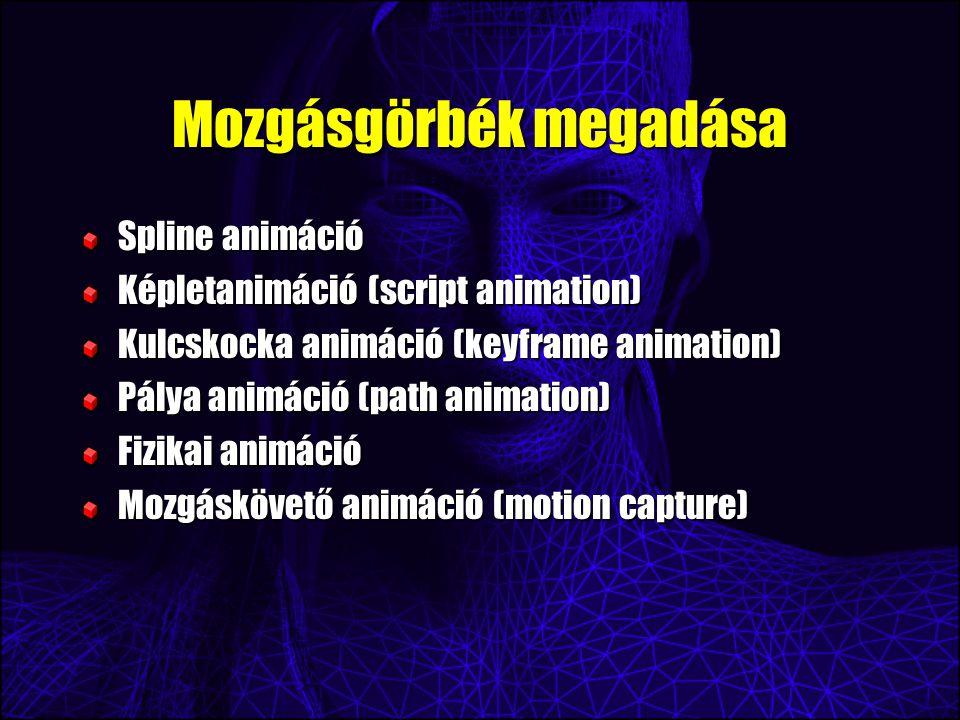Mozgásgörbék megadása Spline animáció Képletanimáció (script animation) Kulcskocka animáció (keyframe animation) Pálya animáció (path animation) Fizikai animáció Mozgáskövető animáció (motion capture)