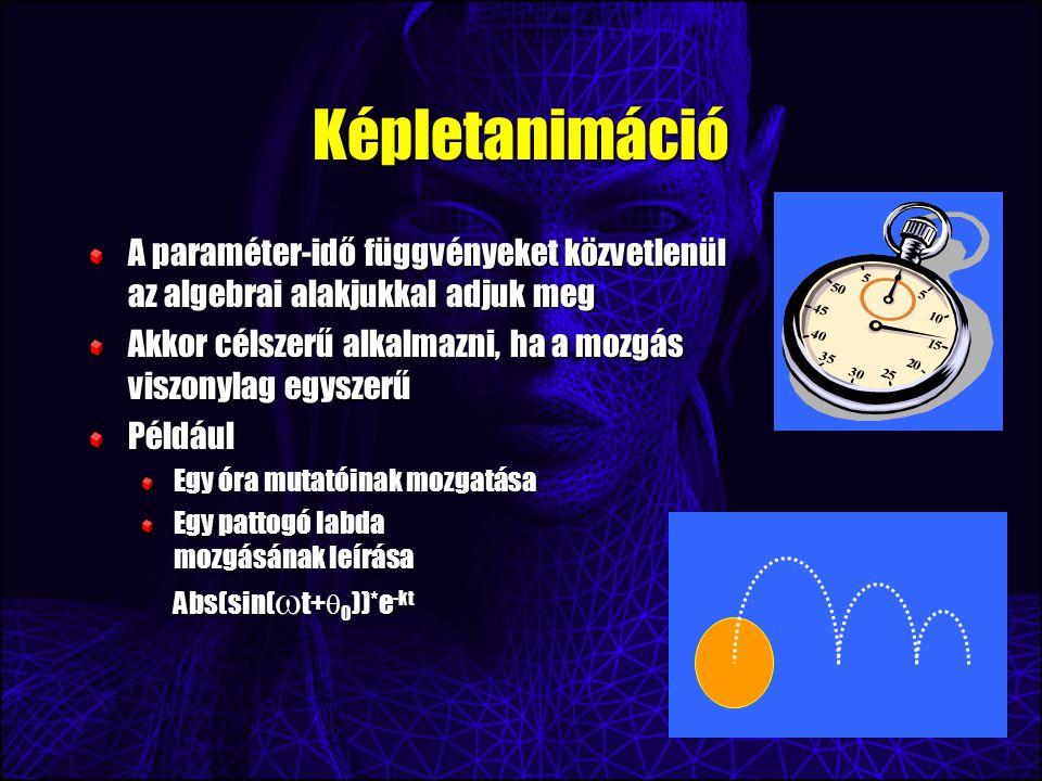 Képletanimáció A paraméter-idő függvényeket közvetlenül az algebrai alakjukkal adjuk meg Akkor célszerű alkalmazni, ha a mozgás viszonylag egyszerű Például Egy óra mutatóinak mozgatása Egy pattogó labda mozgásának leírása Abs(sin(  t+  0 ))*e -kt