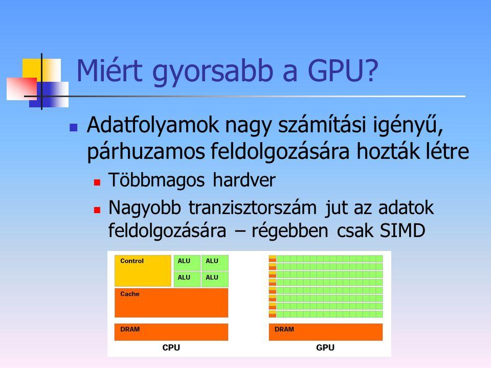 Miért gyorsabb a GPU? Adatfolyamok nagy számítási igényű, párhuzamos feldolgozására hozták létre Többmagos hardver Nagyobb tranzisztorszám jut az adat