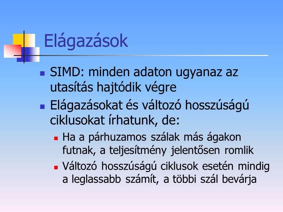 Elágazások SIMD: minden adaton ugyanaz az utasítás hajtódik végre Elágazásokat és változó hosszúságú ciklusokat írhatunk, de: Ha a párhuzamos szálak m