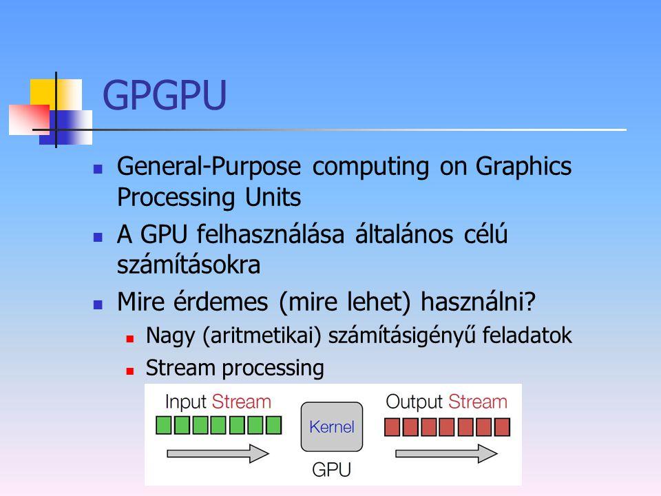 GPGPU General-Purpose computing on Graphics Processing Units A GPU felhasználása általános célú számításokra Mire érdemes (mire lehet) használni? Nagy