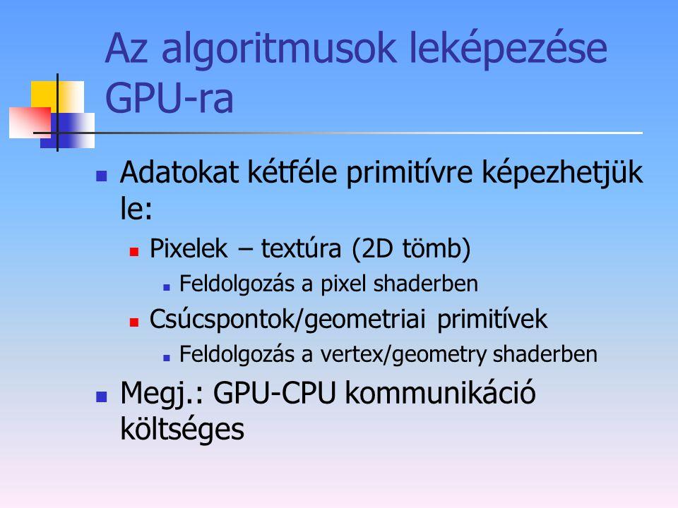 Az algoritmusok leképezése GPU-ra Adatokat kétféle primitívre képezhetjük le: Pixelek – textúra (2D tömb) Feldolgozás a pixel shaderben Csúcspontok/ge