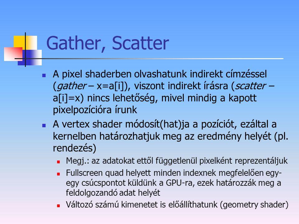 Gather, Scatter A pixel shaderben olvashatunk indirekt címzéssel (gather – x=a[i]), viszont indirekt írásra (scatter – a[i]=x) nincs lehetőség, mivel