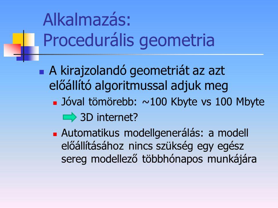 Alkalmazás: Procedurális geometria A kirajzolandó geometriát az azt előállító algoritmussal adjuk meg Jóval tömörebb: ~100 Kbyte vs 100 Mbyte 3D inter