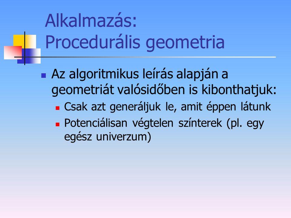 Alkalmazás: Procedurális geometria Az algoritmikus leírás alapján a geometriát valósidőben is kibonthatjuk: Csak azt generáljuk le, amit éppen látunk