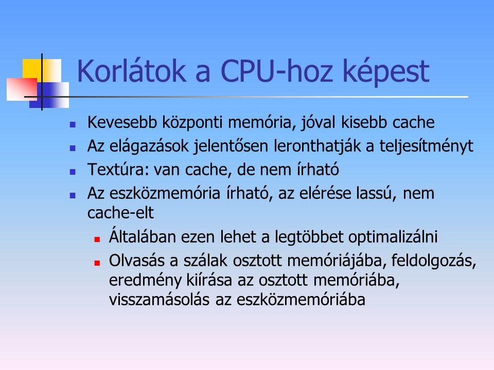 Korlátok a CPU-hoz képest Kevesebb központi memória, jóval kisebb cache Az elágazások jelentősen leronthatják a teljesítményt Textúra: van cache, de n