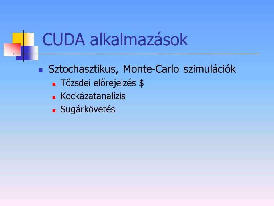 CUDA alkalmazások Sztochasztikus, Monte-Carlo szimulációk Tőzsdei előrejelzés $ Kockázatanalízis Sugárkövetés
