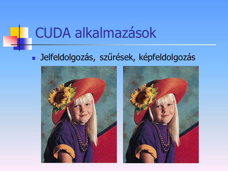 CUDA alkalmazások Jelfeldolgozás, szűrések, képfeldolgozás