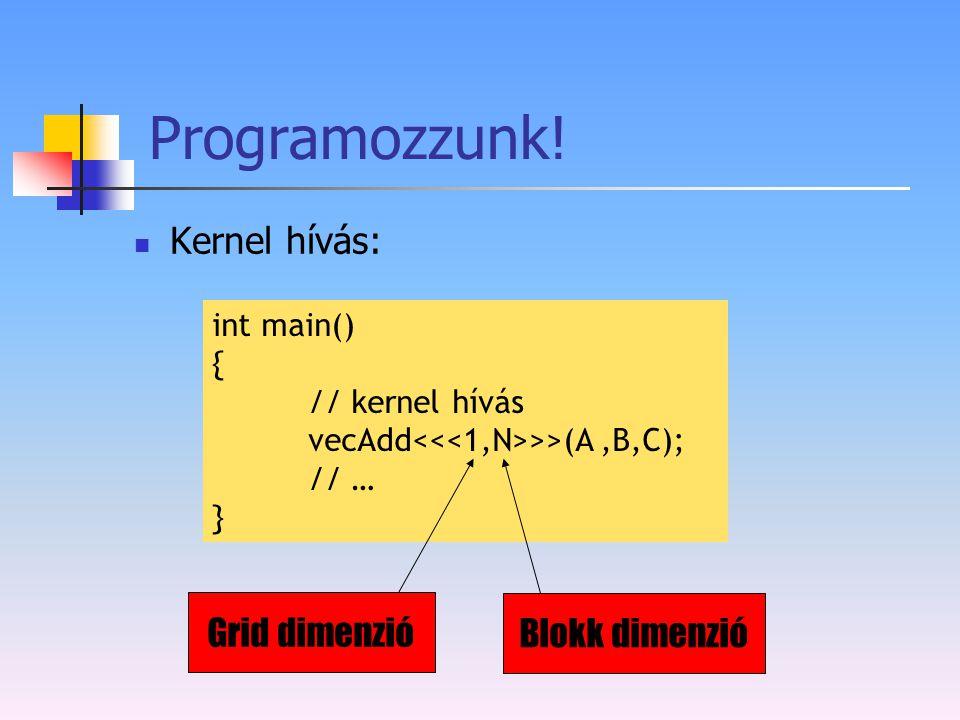 Programozzunk! Kernel hívás: int main() { // kernel hívás vecAdd >>(A,B,C); // … } Grid dimenzió Blokk dimenzió