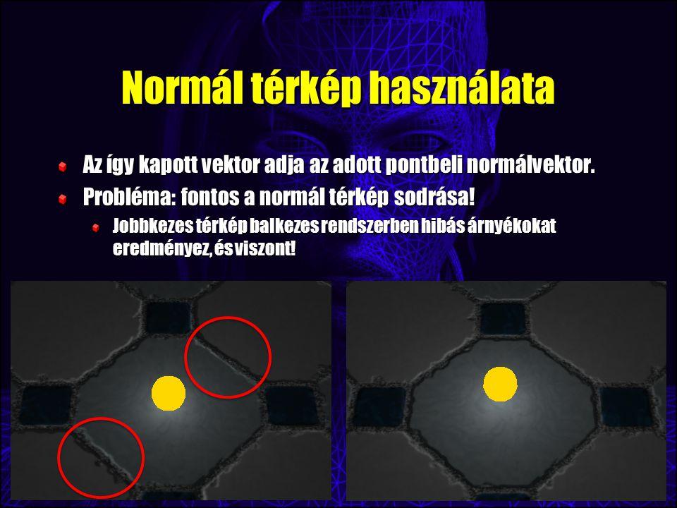 Normál térkép használata Az így kapott vektor adja az adott pontbeli normálvektor. Probléma: fontos a normál térkép sodrása! Jobbkezes térkép balkezes