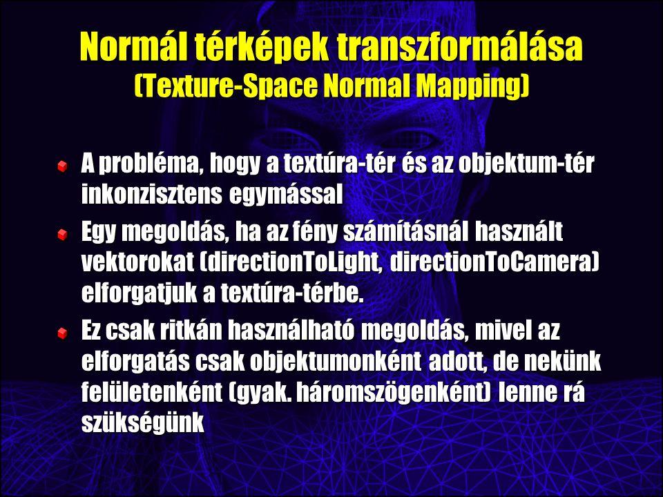 Normál térképek transzformálása (Texture-Space Normal Mapping) A probléma, hogy a textúra-tér és az objektum-tér inkonzisztens egymással Egy megoldás,