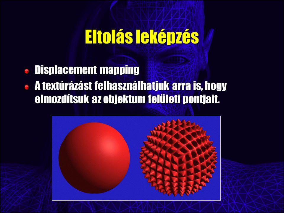 Eltolás leképzés Displacement mapping A textúrázást felhasználhatjuk arra is, hogy elmozdítsuk az objektum felületi pontjait.